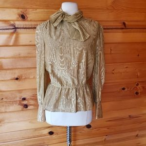 1970s Charles Glueck Shimmery Gold Metallic Blouse